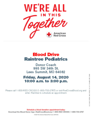 Raintree Pediatrics Blood Drive - August 14th, 2020