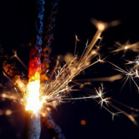 Celebrating 4th of July with sparklers
